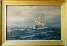 P. Bruer 1900 Antike Ölgemälde Segelschiff im Meer Maritimer Kunst schöneswerk