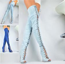 Lusso Scarpe Donna Club-Party Jeans Stivaletti Stivale XXL Sopra Blu 36-41