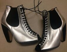 Urban Deena & Ozzy Silver Leather Black Suede Heel Lace Peep Ankle Boots 6 39