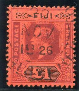 Fiji 1923 KGV £1 purple & black/red (Die II) very fine used. SG 137a. Sc 91a.