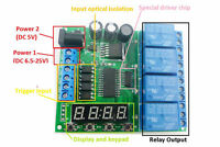 dc 5v 9v 12v 24v 4-channel multifunction delay relay LED clock time timer relays