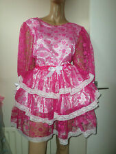 """ADULT BABY SISSY PINK lace PRETTY FRILLY RUFFLE  DRESS 46""""   PUFFED SLEEVES"""