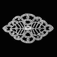 Silver Motif Sew On Applique Embellishment Patch Clear Diamond Rhinestone B141
