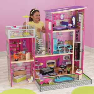 NEW KidKraft Uptown Dollhouse with Outdoor Swimming Pool Barbie House 65833