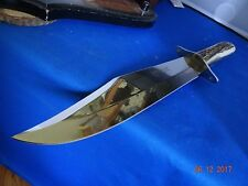 "HEN & ROOSTER STAG HANDLE BOWIE KNIFE 15"" OVER-ALL WITH LEATHER SHEATH A BEAST"