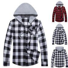 Mens Long Sleeve Lattice Shirts Hooded Sweatshirt Shirts Jackets pullover GIFT