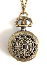 Ladies SMALL VICTORIAN LACE SPIDER'S WEB FOB WATCH Brass Necklace STEAMPUNK New