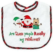 "White/Plaid Christmas ""Are these people REALLY my relatives?"" Embroidered Bib"