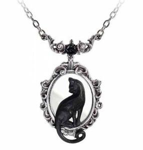 Alchemy England - Feline Felicity Pendant Necklace, Rose, Black Cat Gothic Gift