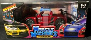MUSCLE TUNERS 2003 TOYOTA MR2 METALIC RED MUSCLE MACHINES 1:24 SCALE No 73111