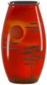 Poole Pottery African Sky Manhattan Vase 26cm oval orange/red new boxed
