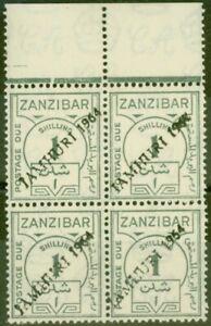 Zanzibar 1936 1s Grey SGD30 Opt JAMHURI Fine MNH Block of 4