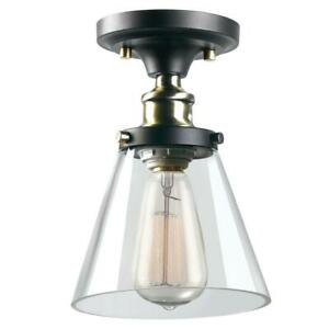 Globe Electric Jackson 1-Light Antique Brass and Brown Flush Mount 65380