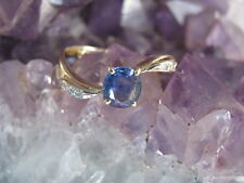 Vintage 14K Yellow Gold Sapphire & Diamond Ring, Size 7