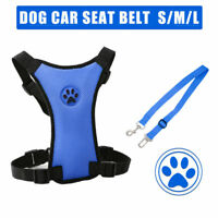 Breathable Air Mesh Puppy Dog Car Harness + Seat belt Clip Lead For Dogs New AU