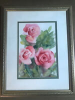 """Deborah Stier 1990 """"Still Life With Roses"""" Watercolor Painting - Signed/Framed"""