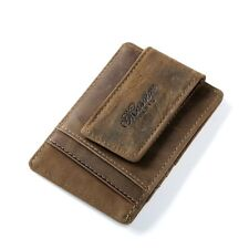 Men Crazy Horse Genuine Leather Money Clip Front Pocket Wallet  Magnet Card Case
