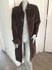 genuine brown suede leather long coat size 12