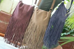 Bohemian Fringe Bag Suede Leather Festival Bag Crossbody Boho Hippie Bag Leather