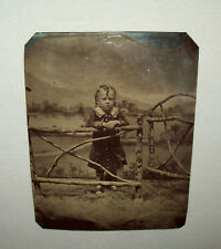 Antique Vtg C 1870s Tintype Photograph Young Girl Standing by Fence Prop Nice