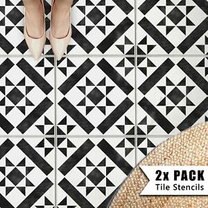 2x Tile Stencils - Bathroom Kitchen Wall Floor Tiles & Patio Slabs - Kensington