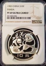1983 CHINA SILVER 10 YUAN PANDA NGC PF 69 ULTRA CAMEO HIGH GRADE KEY DATE !!!