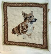Corgi Dog Needlepoint Only Petit Point Face Cute 10� Square Bordered Backed