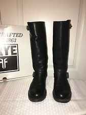 WOMENS FRYE VERONICA SLOUCH BLACK LEATHER PULL ON BOOTS IN SIZE 7M