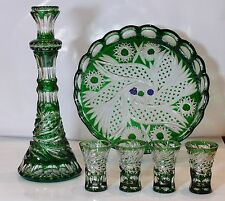 "Wine Set ""ROYAL""- DECANTER, 4 SHOT GLASSES & TRAY Green Cased Crystal RUSSIA New"