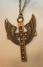 Lovely Metal Beaded Angel's Wings Brasstone Cross Pendant Necklace
