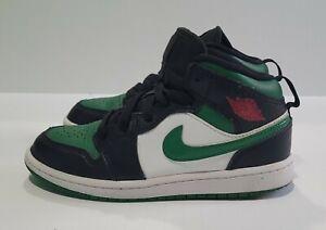 Nike Air Jordan 1 Mid Black Pine Green Shoes 640734-067 13.5 Child Size