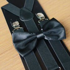 Mens COMBO SET Stretch Braces Bow Wedding Party Groom SUSPENDERS + TIED BOW TIE