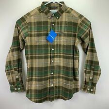Columbia Mens Rapid Rivers II Plaid Long Sleeve Button Down Shirt Green Brown L