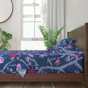 Chinoiserie Floral Botanical Peonies 100% Cotton Sateen Sheet Set by Roostery