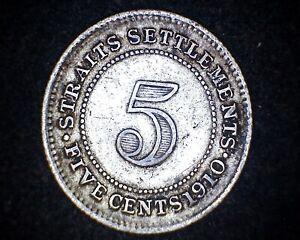1910-B STRAITS SETTLEMENT 5 CENTS KM#20a -60% SILVER #19740