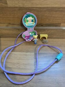 Vintage RARE 1993 Bluebird Polly Pocket Pet Paradise Fuzzy Bunny Locket Necklace