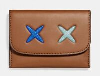 NWT Coach F22957 Women's Brown Leather Glitter Cheeky Card Case Mini Wallet $75