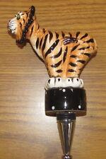 Walter Tiger Painted Ceramic Wine Bottle Stopper Blue Sky Lynda Corneille NIB