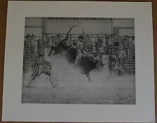 Laurie Lee BULL RIDER Rodeo Print From Black & White Pencil Drawing Open Edition