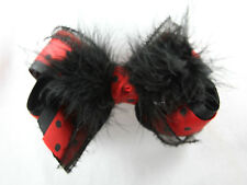 Personalized Embroidered Cruella Deville Black and Red Polka Dots Fur Hair Bow