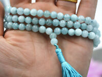 Natural 6mm Blue Aquamarine Buddhist 108 Prayer Beads Mala Bracelet Necklace