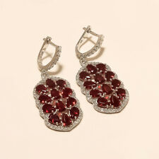 Natural Mexican Red Apatite Earrings 925 Sterling Silver Women Fine Jewelry gift