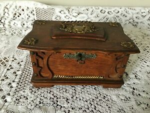 """Vintage Wooden Box 7"""" by 4.5"""" with Metal Fittings"""