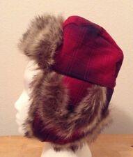 Gymboree Kids Red Black Faux Fur Hat Sz 3-4 Yo Cotton Bb4
