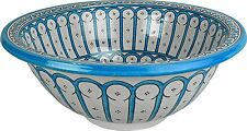 Rabat Turquoise Ceramic Hand painted Moroccan Bathroom Basin,Painted inside out