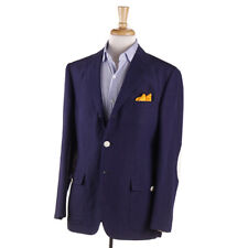 New $3600 D'AVENZA Navy Linen-Silk Sport Coat with Leather Details 40 R