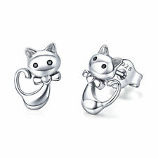 Stud Earring Jewelry For Women New Cute Sticky Cat Authentic 925 Sterling Silver