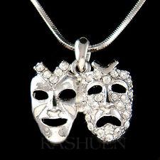 w Swarovski Crystal Comedy Tragedy Mask Theater Play Acting Necklace Jewelry New