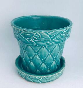 "Vintage McCoy Pottery Green Diamond Planter Flower Pot 4.5"" High"