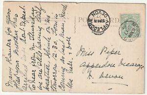 1907 MORTIMER Berkshire single circle pmk KEVII ½d PPC->Appledore Devon